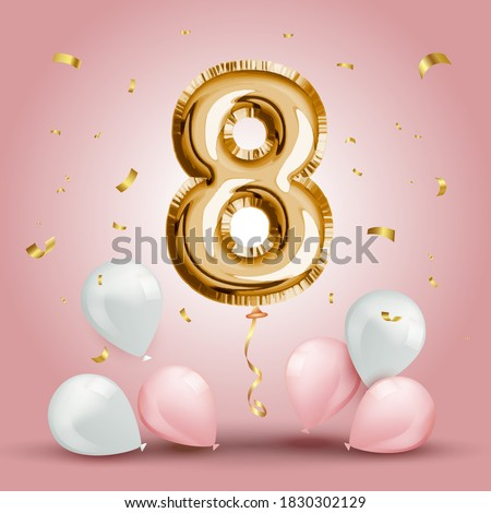 Elegant Greeting celebration eight years birthday. Anniversary number 8 foil gold balloon. Happy birthday, congratulations poster. Golden numbers with sparkling golden confetti. Vector background