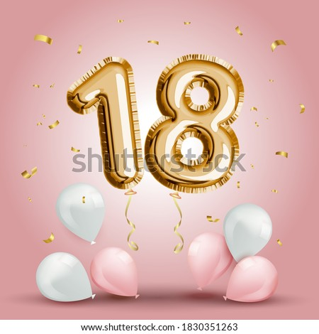 Elegant Greeting celebration eighteen years birthday. Anniversary number 18 foil gold balloon. Happy birthday, congratulations poster. Golden numbers with sparkling golden confetti. Vector background