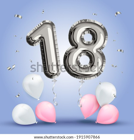 Elegant Greeting celebration eighteen years birthday. Anniversary number 18 foil silver balloon. Happy birthday congratulations poster. Silver numbers with sparkling silver confetti. Vector background Photo stock ©