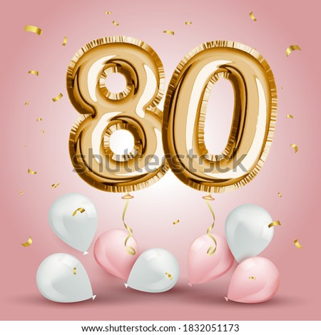 Elegant Greeting celebration eighty years birthday. Anniversary number 80 foil gold balloon. Happy birthday, congratulations poster. Golden numbers with sparkling golden confetti. Vector