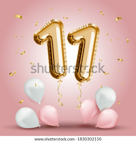 Elegant Greeting celebration eleven years birthday. Anniversary number 11 foil gold balloon. Happy birthday, congratulations poster. Golden numbers with sparkling golden confetti. Vector background