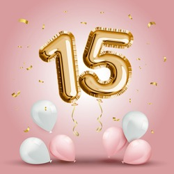 Elegant Greeting celebration fifteen years birthday. Anniversary number 15 foil gold balloon. Happy birthday, congratulations poster. Golden numbers with sparkling golden confetti. Vector background