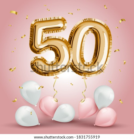 Elegant Greeting celebration fifty years birthday. Anniversary number 50 foil gold balloon. Happy birthday, congratulations poster. Golden numbers with sparkling golden confetti. Vector background