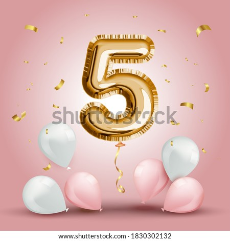 Elegant Greeting celebration five years birthday. Anniversary number 5 foil gold balloon. Happy birthday, congratulations poster. Golden numbers with sparkling golden confetti. Vector background