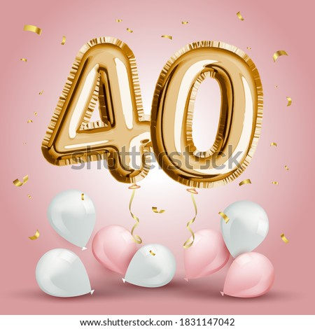 Elegant Greeting celebration forty years birthday. Anniversary number 40 foil gold balloon. Happy birthday, congratulations poster. Golden numbers with sparkling golden confetti. Vector background