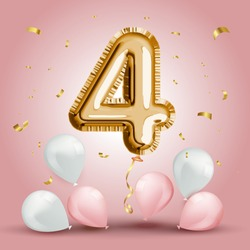Elegant Greeting celebration four years birthday. Anniversary number 4 foil gold balloon. Happy birthday, congratulations poster. Golden numbers with sparkling golden confetti. Vector background