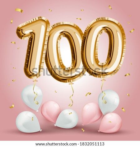 Elegant Greeting celebration one hundred years birthday. Anniversary number 100 foil gold balloon. Happy birthday, congratulations poster. Golden numbers with sparkling golden confetti. Vector