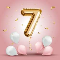 Elegant Greeting celebration sevens years birthday. Anniversary number 7 foil gold balloon. Happy birthday, congratulations poster. Golden numbers with sparkling golden confetti. Vector background