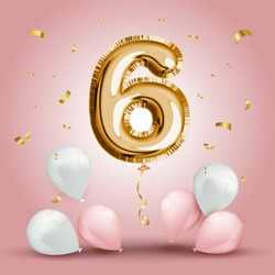 Elegant Greeting celebration six years birthday. Anniversary number 6 foil gold balloon. Happy birthday, congratulations poster. Golden numbers with sparkling golden confetti. Vector background