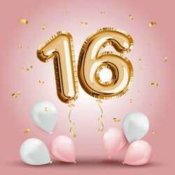 Elegant Greeting celebration sixteen years birthday. Anniversary number 16 foil gold balloon. Happy birthday, congratulations poster. Golden numbers with sparkling golden confetti. Vector background