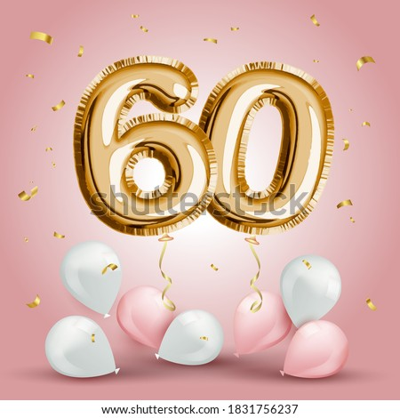 Elegant Greeting celebration sixty years birthday. Anniversary number 60 foil gold balloon. Happy birthday, congratulations poster. Golden numbers with sparkling golden confetti. Vector background Zdjęcia stock ©
