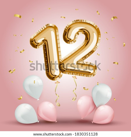 Elegant Greeting celebration twelve years birthday. Anniversary number 12 foil gold balloon. Happy birthday, congratulations poster. Golden numbers with sparkling golden confetti. Vector background Stock photo ©