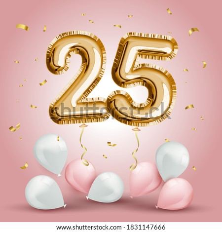 Elegant Greeting celebration twenty five years birthday. Anniversary number 25 foil gold balloon. Happy birthday, congratulations poster. Golden numbers with sparkling golden confetti. Vector  Сток-фото ©