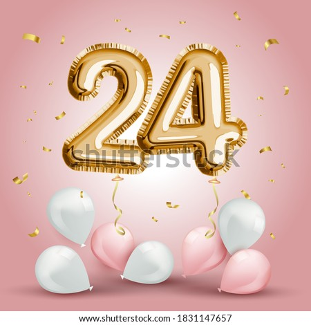 Elegant Greeting celebration twenty four years birthday. Anniversary number 24 foil gold balloon. Happy birthday, congratulations poster. Golden numbers with sparkling golden confetti. Vector Сток-фото ©