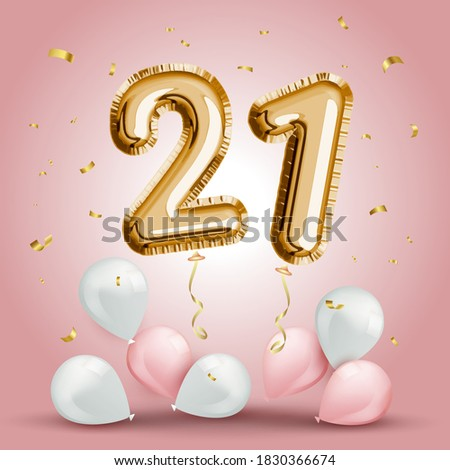Elegant Greeting celebration twenty one years birthday. Anniversary number 21 foil gold balloon. Happy birthday, congratulations poster. Golden numbers with sparkling golden confetti. Vector