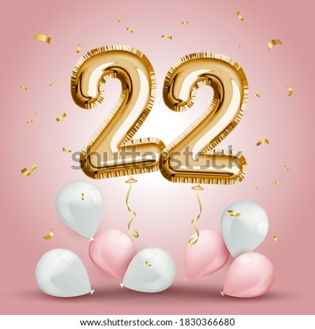 Elegant Greeting celebration twenty two years birthday. Anniversary number 22 foil gold balloon. Happy birthday, congratulations poster. Golden numbers with sparkling golden confetti. Vector   Сток-фото ©