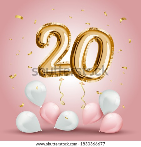 Elegant Greeting celebration twenty years birthday. Anniversary number 20 foil gold balloon. Happy birthday, congratulations poster. Golden numbers with sparkling golden confetti. Vector background Foto stock ©