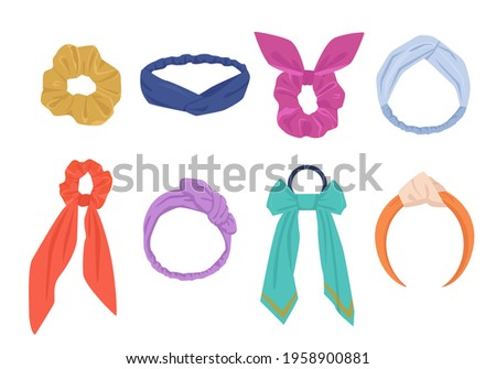 Elegant hair ties and hoops set. Fashionable womens yellow accessory with hanging blue ribbons stylish purple headband and vintage orange bandana with elastic inserts. Vector fashion. Foto stock ©
