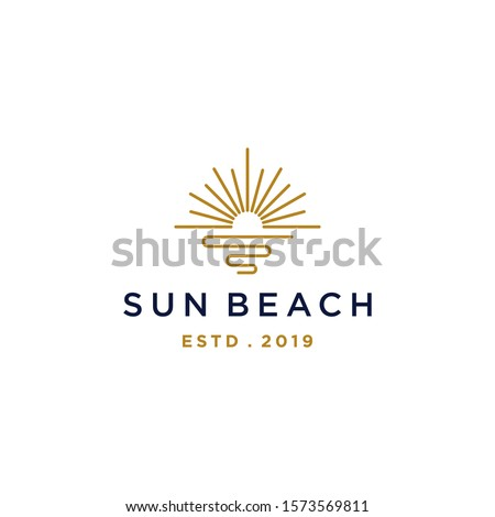 elegant hipster gold sun sunset sunrise with beach ocean sea water logo icon vector in trendy line linear,  outline logo vector for hotel
