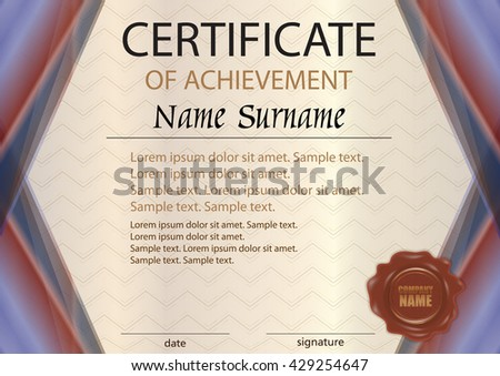 Premium brown certificate design template download free vector art elegant horizontal certificate or diploma template with wax seal the text on separate layers yelopaper Choice Image