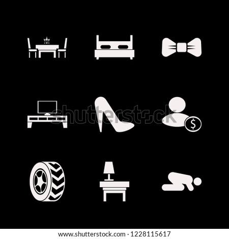 elegant icon. elegant vector icons set car wheel, businessman, islam prayer and black bow tie