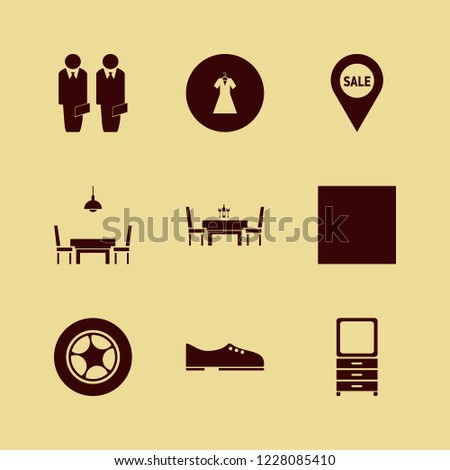 elegant icon. elegant vector icons set evening dress, dining room, men shoes and car wheel