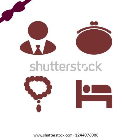 elegant icon. elegant vector icons set necklace, businessman, purse and bed