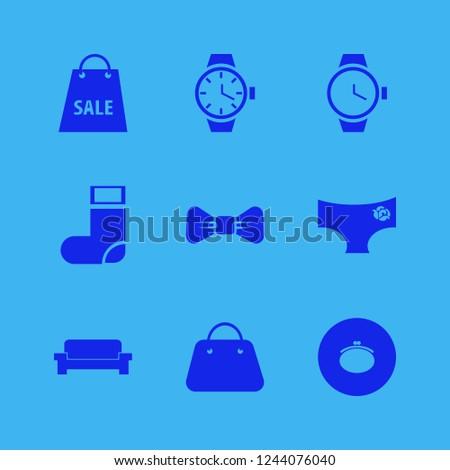 elegant icon. elegant vector icons set panties rose, black bow tie, sock and purse