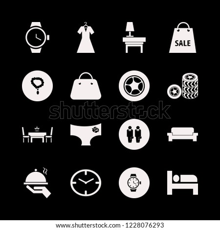 elegant icon. elegant vector icons set watch face, shopping bag, necklace and bed
