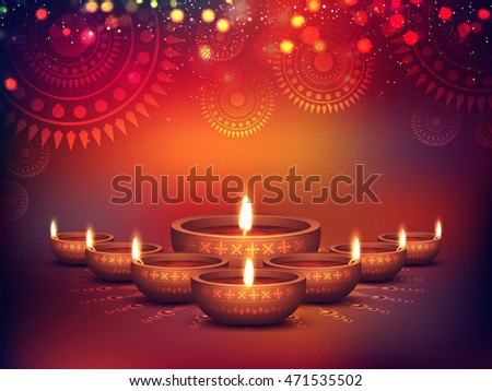 Elegant Illuminated Oil Lit Lamps, Beautiful Traditional Festive floral Background, Glowing Ornaments, Vector Illustration for Indian Festival of Lights, Happy Diwali Celebration. #471535502