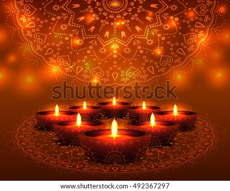Beautiful diwali greeting background with diya and sparkles elegant illuminated oil lit lamps beautiful traditional festive indian background glowing ornaments festival of m4hsunfo