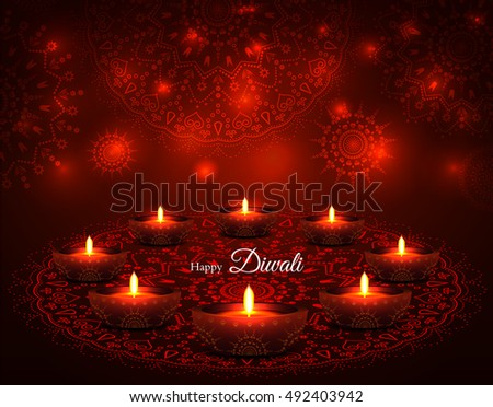 Diwali greeting vector background design with floral ornaments elegant illuminated oil lit lamps beautiful traditional festive indian background glowing ornaments festival of m4hsunfo