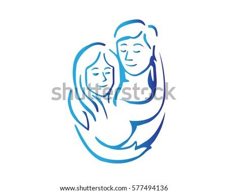 Elegant Intimate Romantic Couple Silhouette Illustration Logo