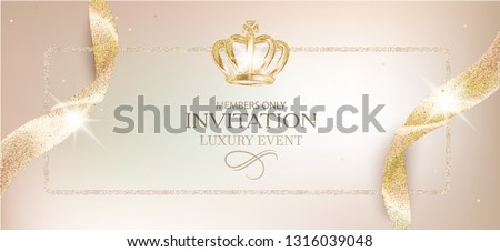 Elegant invitation beige card with sparkling ribbons and crown. Vector illustration