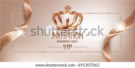 Shutterstock Elegant invitation beige card with sparkling ribbons and crown. Vector illustration