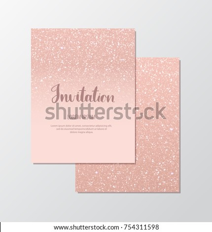 Elegant invitation cards with rose gold sequins on blush background.