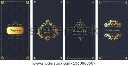 Elegant invitation. Decorative damask ornament pattern, golden frame and baroque ornate luxury brochure. Elegancy wedding cards, gold jewelry or cosmetic product box background vector set
