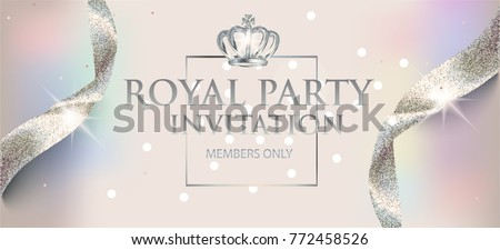Elegant invitation  pearl card with sparkling ribbons and crown. Vector illustration