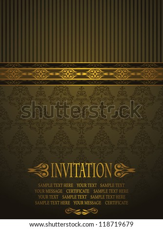 Elegant invitation with vintage seamless background