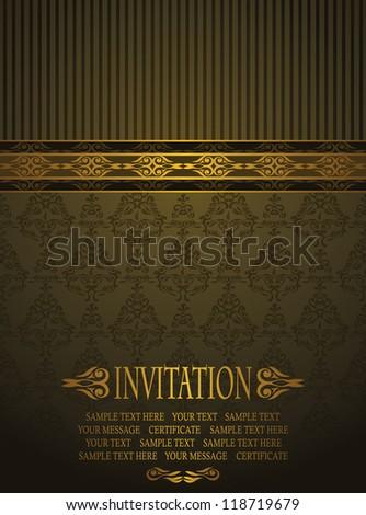 Elegant invitation with vintage seamless background