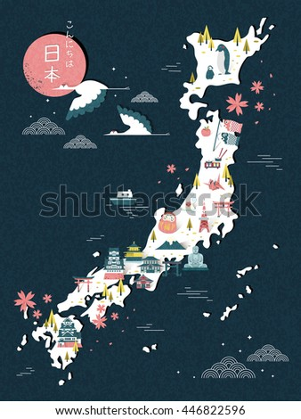 elegant japan travel map design
