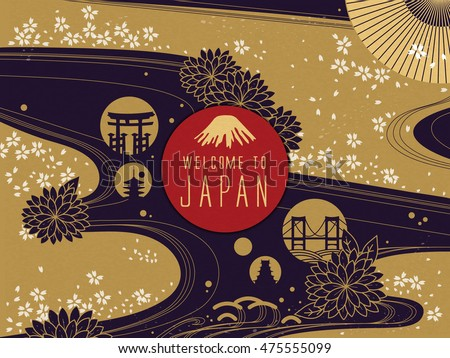 elegant japan travel poster