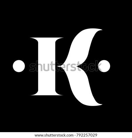 Elegant K Letter Sans Serif Classic Ornament Form Logo Stock fotó ©
