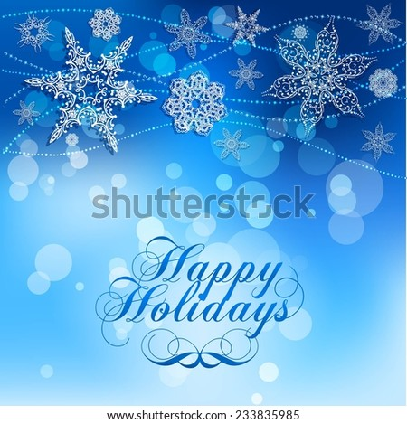 Elegant Lacy Snowflakes on Blue Background. Happy Holiday.  Illustration