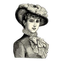 Elegant lady - Vintage engraved illustration -