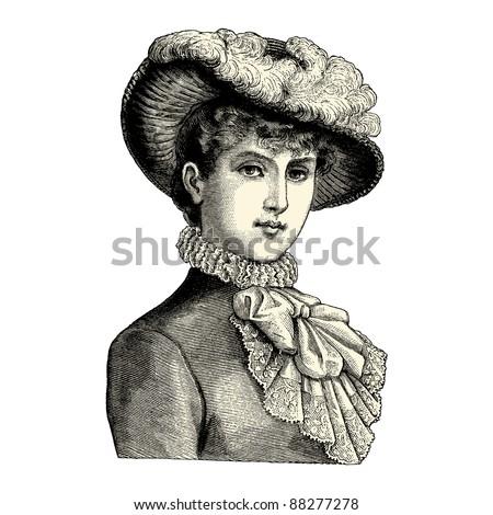 elegant lady   vintage engraved