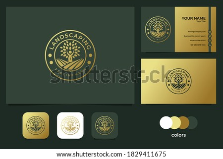 elegant landscaping with people and tree logo design and business card Stockfoto ©