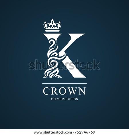 Elegant letter K. Graceful royal style. Calligraphic beautiful logo. Vintage drawn emblem for book design, brand name, business card, Restaurant, Boutique, Hotel. Vector illustration