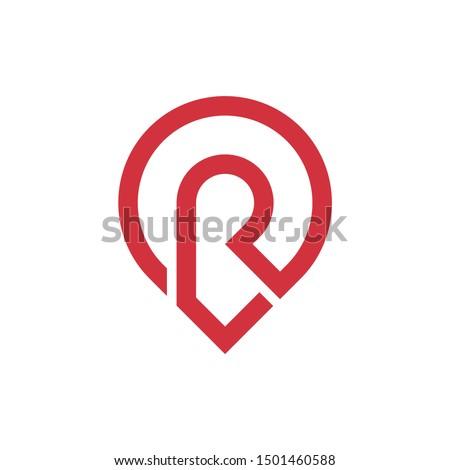Elegant letter R location symbol logo icon vector with line art style Stock fotó ©
