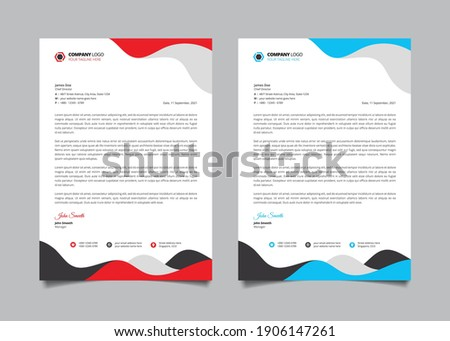 Elegant letterhead design template with blue, black, and red wavy shape. Corporate letterhead template